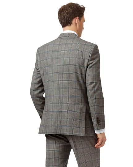 Grey Prince of Wales classic fit British luxury suit jacket