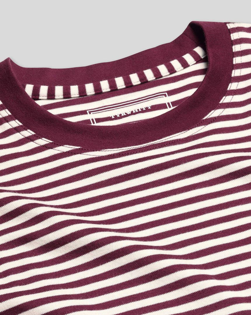 Cotton Stripe Tyrwhitt T-Shirt - Wine & Ecru