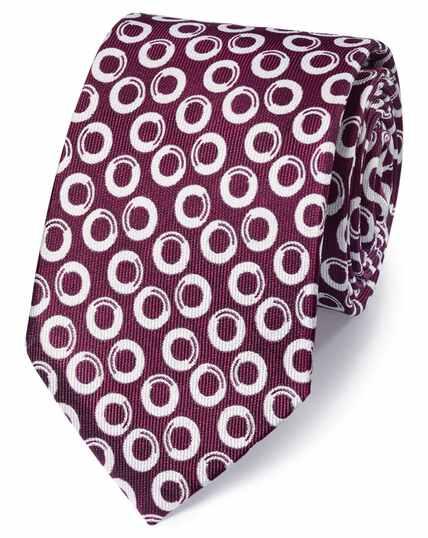 Cravate classique myrtille et blanche en soie fil à fil à motif géométrique