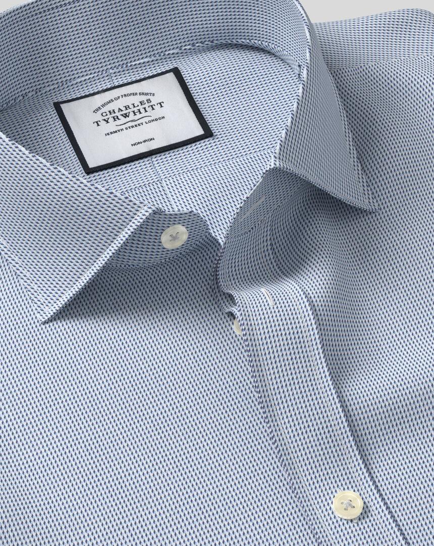 Cutaway Collar Non-Iron Dobby Shirt - Blue