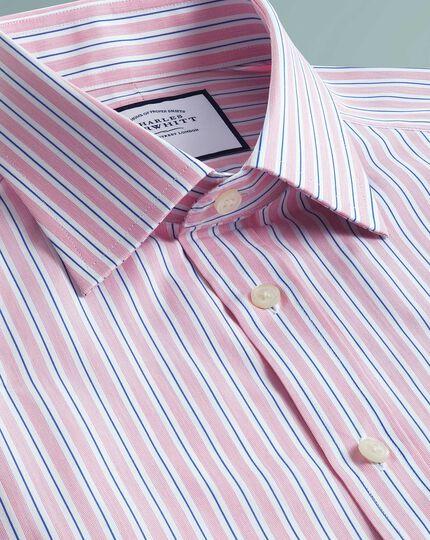 Chemise rose en popeline de coton égyptien coupe droite à rayures