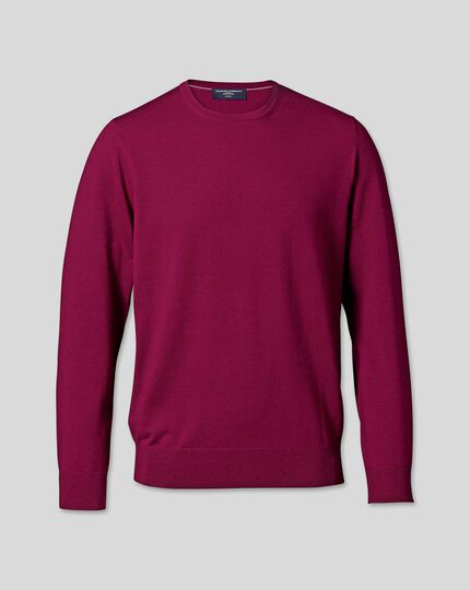 Merino Crew Neck Jumper - Raspberry