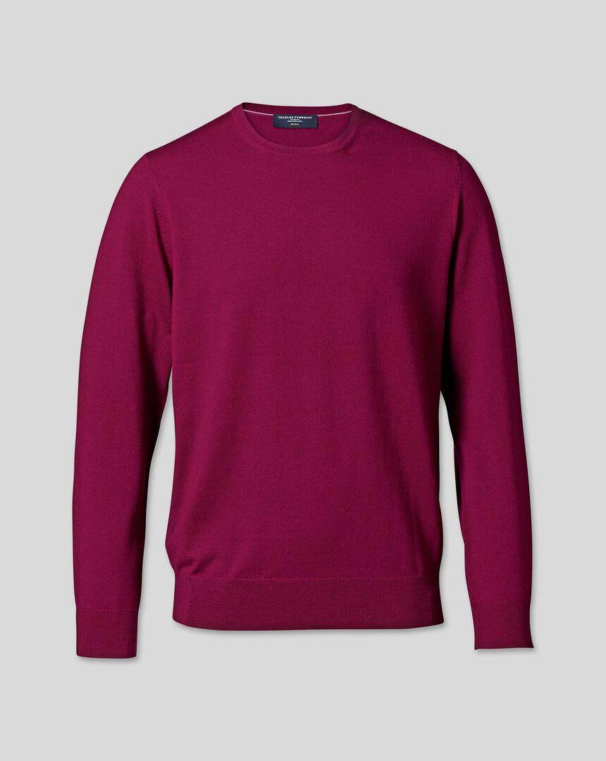 Merino Crew Neck Sweater - Raspberry