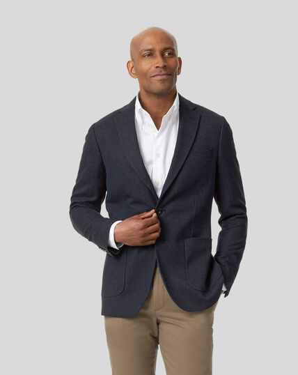 Italian Herringbone Jacket - Royal Blue