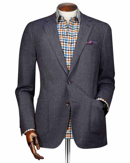 Slim fit navy modern wool blazer