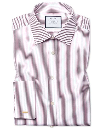 Classic fit non-iron stripe purple shirt