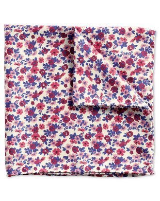 Pink multi luxury Italian mini floral pocket square