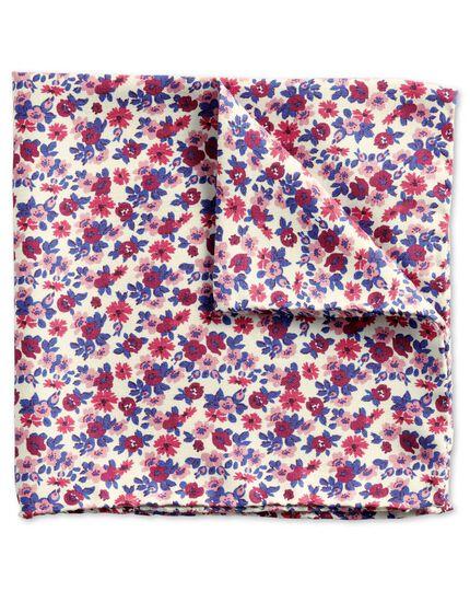 Pink multi luxury Italian mini floral pocket square