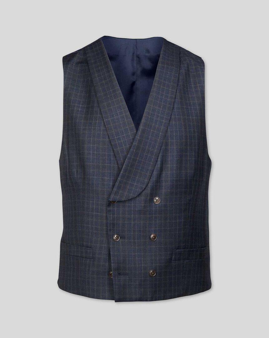 Italian Luxury Twill Check Suit Vest - Blue