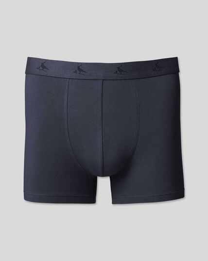 3 Pack Cotton Stretch Jersey Trunks - Navy