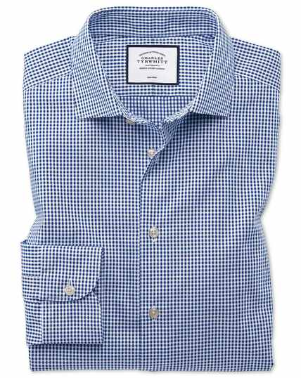 Slim fit business casual non-iron square texture navy shirt