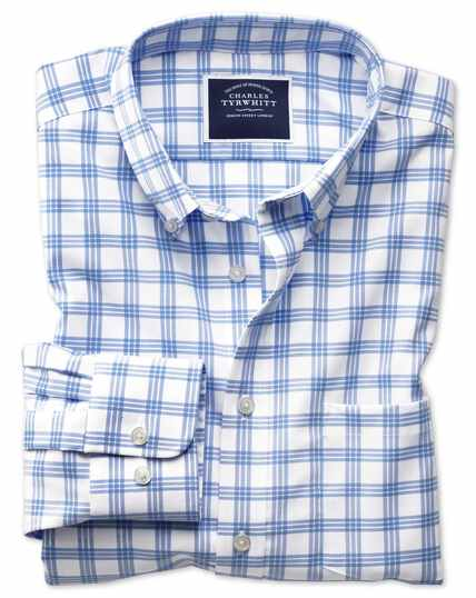 Classic fit button-down non-iron twill white and blue  shirt