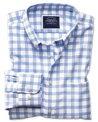 Bügelfreies Slim Fit Twill-Hemd mit Button-down Kragen in Weiß und Blau