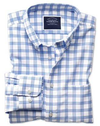 Slim fit button-down non-iron twill white and blue  shirt