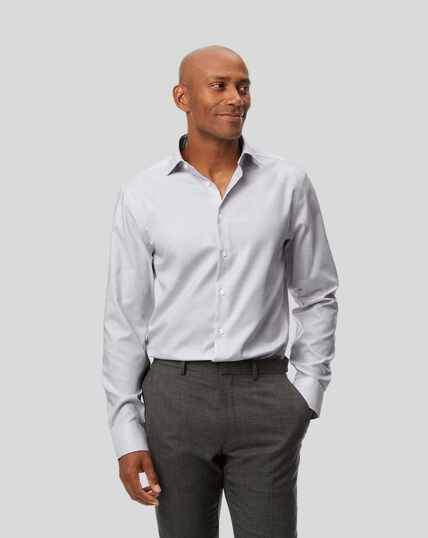 Business Casual Collar Non-Iron Natural Stretch Sketch Shirt - Grey