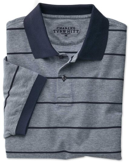 Gestreiftes Piqué-Oxford-Polohemd in Marineblau