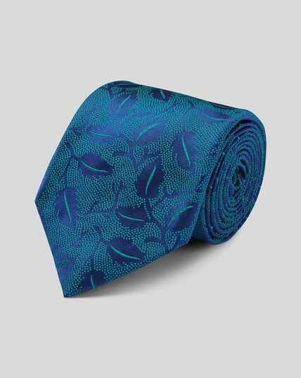 Cravate de luxe en soie anglaise à fleurs - Vert