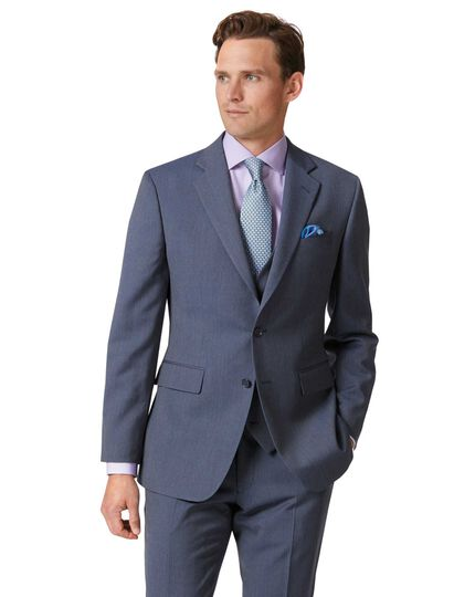 Light blue slim fit herringbone business suit jacket