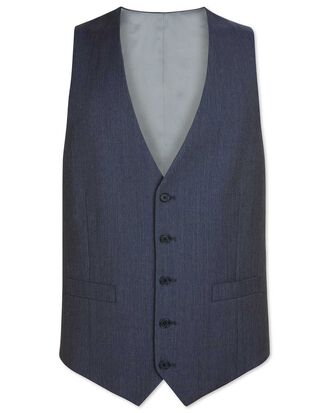 Light blue adjustable fit herringbone business suit vests