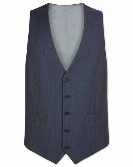 Light blue adjustable fit herringbone business suit waistcoat