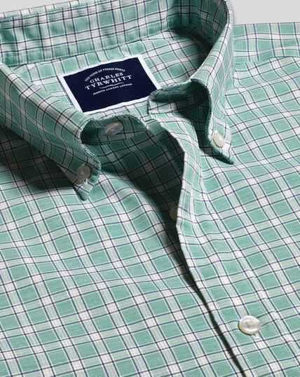 Button-Down Collar Non-Iron Stretch Poplin End-on-End Check Shirt - Green