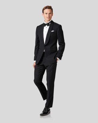 Black extra slim fit shawl collar dinner suit