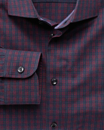 Slim fit semi-cutaway collar business casual melange red and navy check shirt
