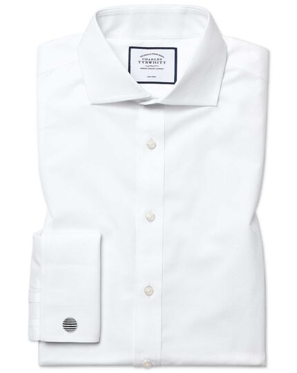 Extra slim fit white non-iron poplin cutaway collar shirt