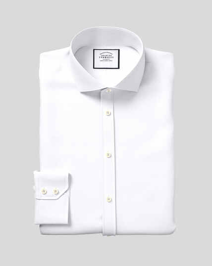 Cutaway Collar Poplin Egyptian Cotton Shirt - White