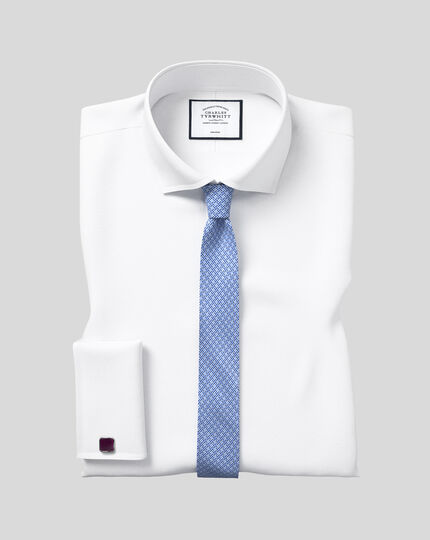 Extra slim fit spread collar non-iron poplin white shirt