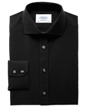 Extra slim fit spread collar non-iron poplin black shirt