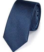 Blue silk slim textured semi plain classic tie