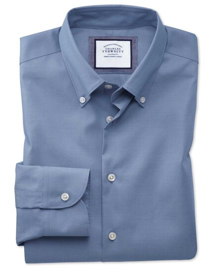Slim fit button-down business casual non-iron mid blue shirt