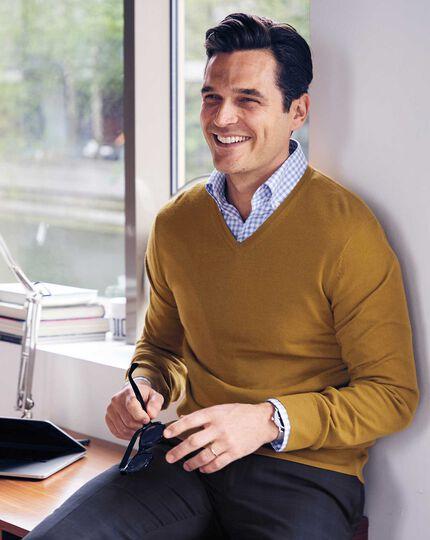 Dark yellow merino v neck sweater
