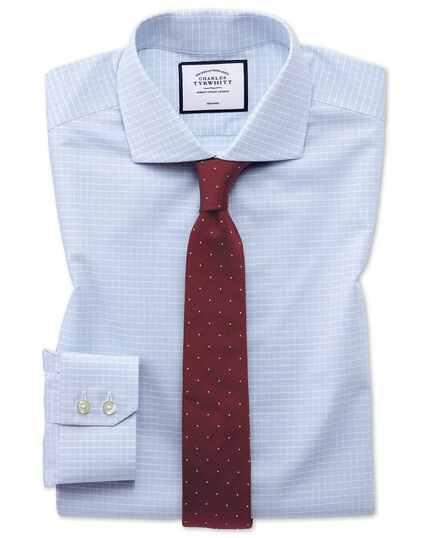 Extra slim fit non-iron 4-way stretch sky blue check shirt