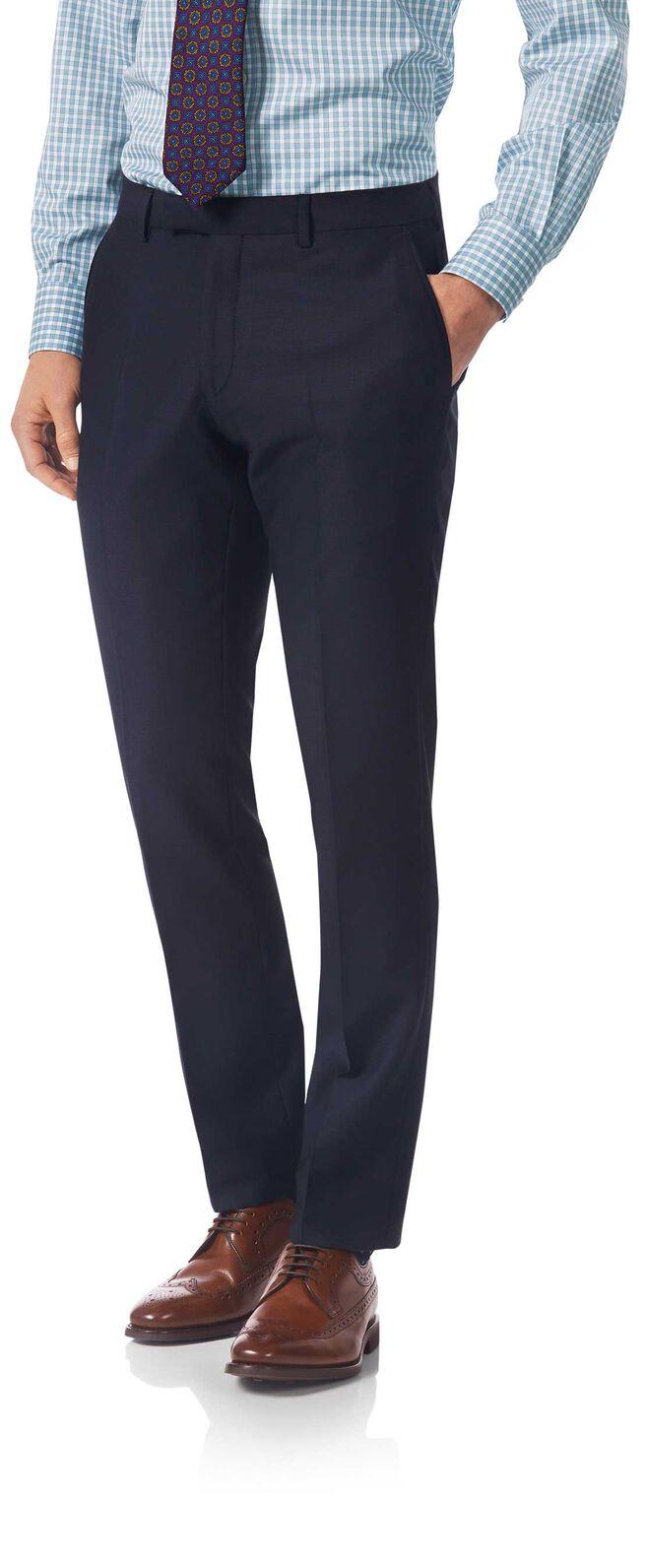 Navy slim fit textured Italian suit