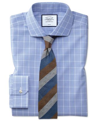 Super slim fit cutaway non-iron Prince of Wales mid blue shirt