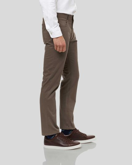 Cotton Stretch 5-Pocket Trousers - Mocha
