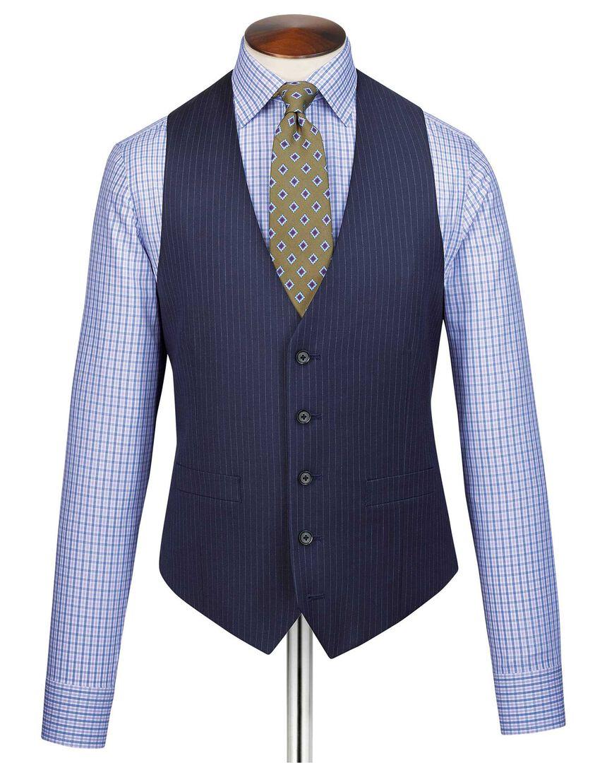 Blue adjustable fit twill stripe business suit vest