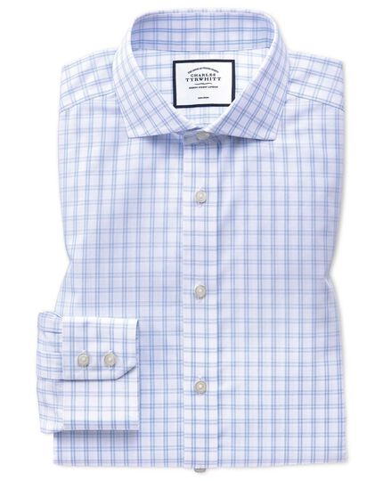 Extra slim fit spread collar non-iron natural cool sky blue and white check shirt