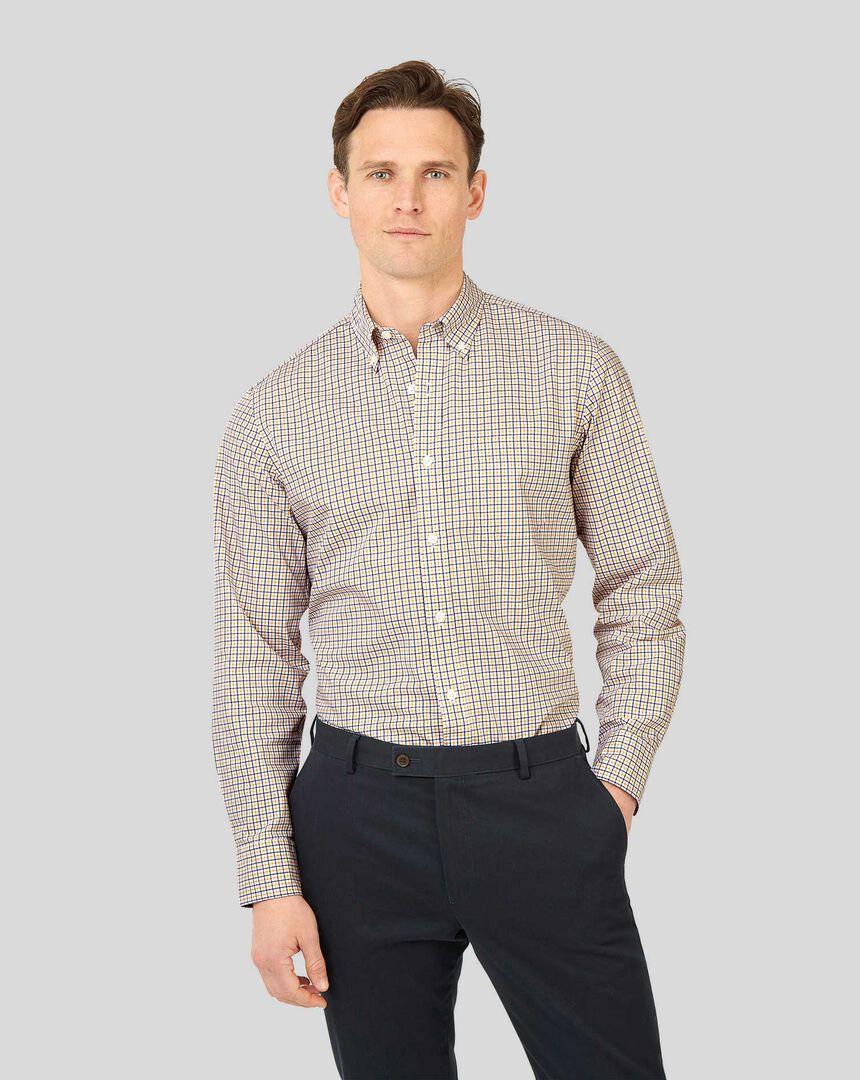 Bügelfreies Popeline-Hemd aus Stretchgewebe mit Button-down-Kragen und Karos - Senffarben & Marineblau