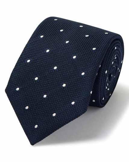Navy jacquard grenadine spot Italian luxury tie