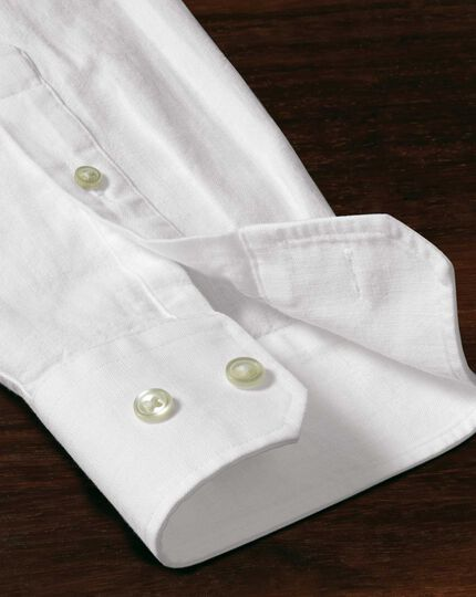 Slim fit white collarless shirt