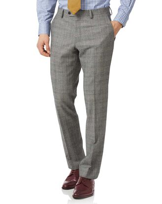 Grey classic fit Prince of Wales check flannel business suit pants
