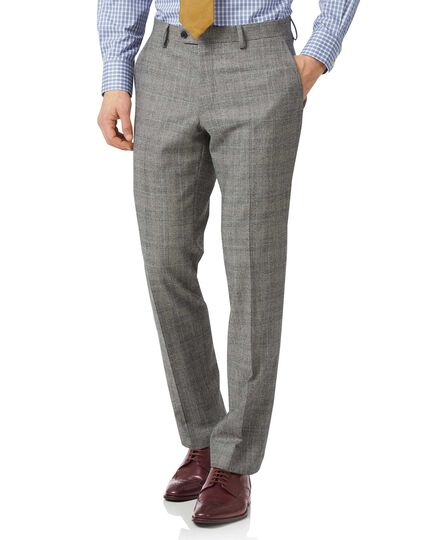 Grey classic fit Prince of Wales check flannel business suit trousers