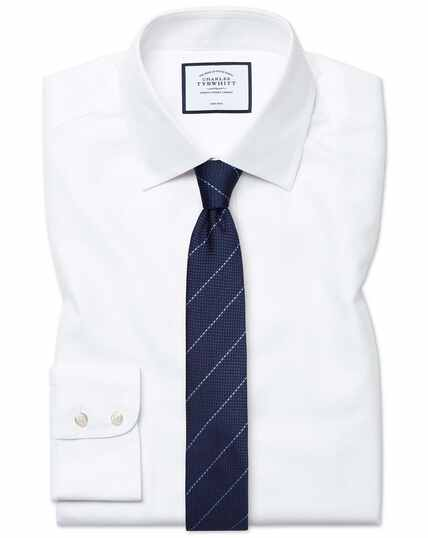 Extra slim fit non-iron white royal Panama shirt