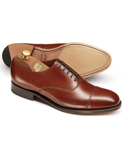 Brown Heathcote calf leather toe cap Oxford shoes
