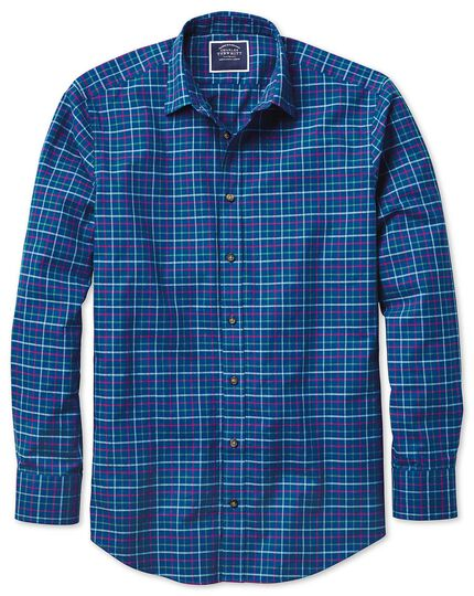 Classic fit blue multi brushed check shirt