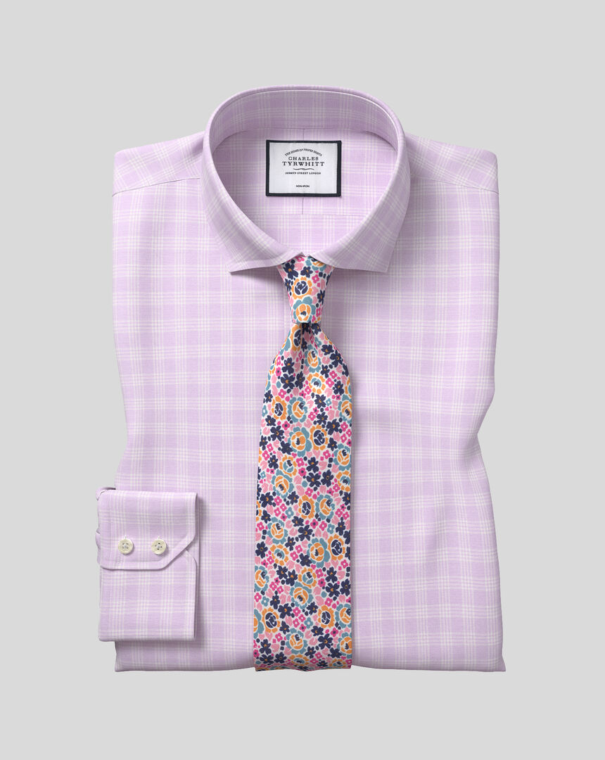 Spread Collar Non-Iron Prince Of Wales Check Shirt - Lilac