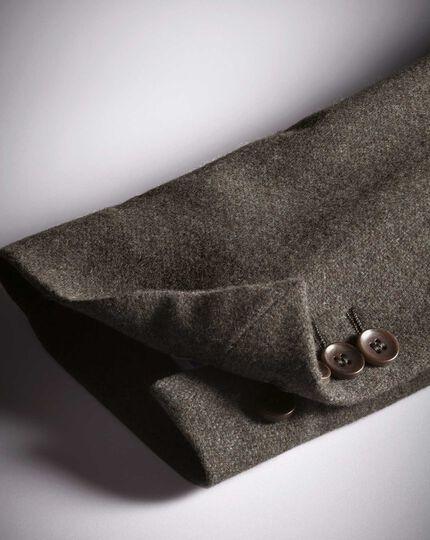 Slim fit light brown plain wool flannel blazer